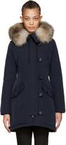Moncler Navy Down & Fur Aredhel Coat