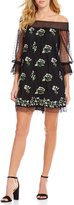 Lucy Paris Sabine Off-the-Shoulder Embroidered Dot Mesh Shift Dress