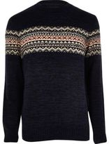 River Island MensNavy fairisle knit Christmas jumper