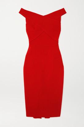 Roland Mouret Amarula Off-the-shoulder Wool-crepe Midi Dress - Red