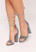 Missguided Wrap Around Strap Glitter Block Heel Silver