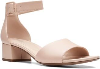 Clarks Collection Leather Block Heeled Sandals- Elisa Dedra