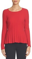 CeCe Women's Chevron Stitch Cotton Blend Peplum Sweater