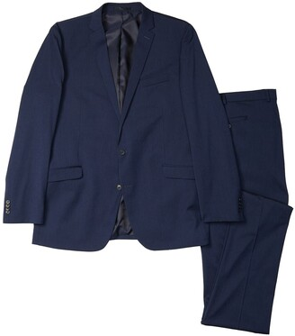 Kenneth Cole Reaction Navy Iridescent Two Button Noth Flex Fit Suit