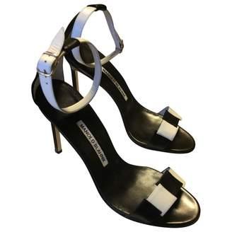 Manolo Blahnik Black Leather Sandals