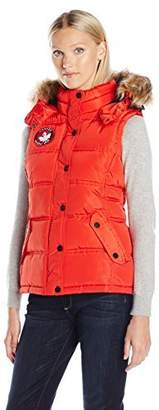 Canada Weather Gear Women's Sporty Down Vest with Faux Fur Trimmed Hoody