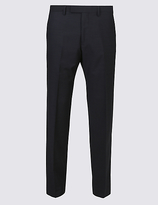 Savile Row Inspired Navy Striped Tailored Fit Wool Trousers