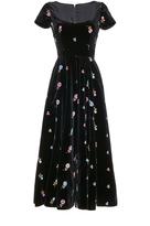 Luisa Beccaria Embroidered Velvet Full Dress
