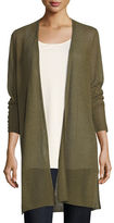 Eileen Fisher Sheer Long Cardigan w/ Side Slits, Plus Size