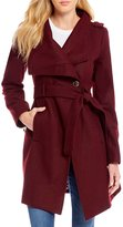 GUESS Asymmetrical Envelope Collar Wool Belted Wrap Coat