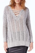 Michael Stars Women's Lace-Up Neck Open Work Tunic Sweater