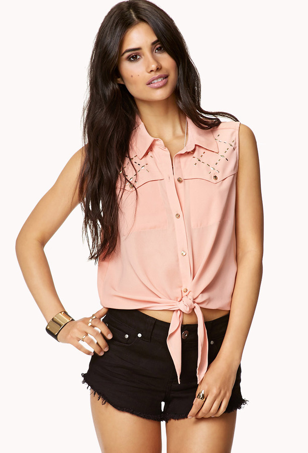 Forever 21 Studded Tie-Front Shirt