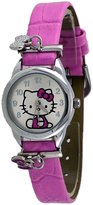 Hello Kitty #HK5173 Women's Pink Band Hanging Bow Tie Charms Analog Watch