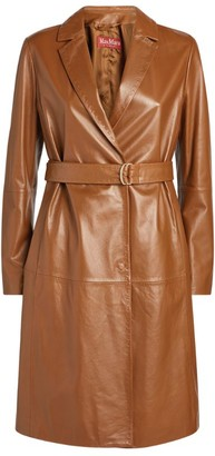 Max Mara Leather Amerigo Belted Trench Coat