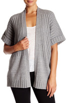Lafayette 148 New York Ribbed Open Front Wool Blend Cardigan