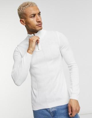 ASOS DESIGN knitted wide rib half zip jumper in white