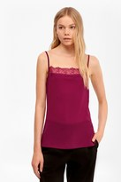 French Connection Polly Plains Lace Trim Cami Top