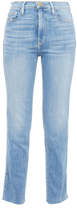 Frame Le Garcon Distressed High-rise Straight-leg Jeans