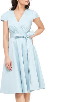 Gal Meets Glam Women's Casual Dresses SEA - Sea Breeze Addison Tie-Waist Cap-Sleeve Surplice Dress - Women & Juniors