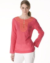 Cotton Voile Abbey Tunic with Embroidered Neck