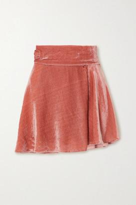 HARMUR Velvet Wrap Mini Skirt