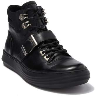 Karl Lagerfeld Paris High Top Leather Sneaker With Buckle Strap