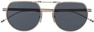 Thom Browne Hingeless Aviator-Frame Sunglasses