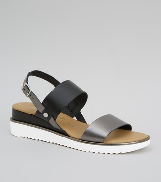 New Look Leather Double Strap Wedge Sandals
