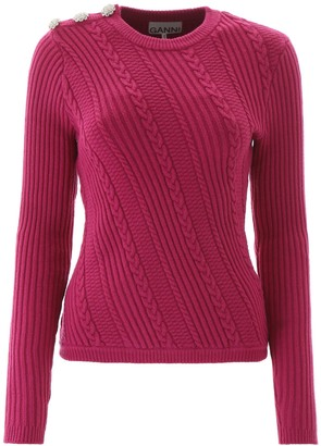Ganni Embellished Button Knitted Sweater