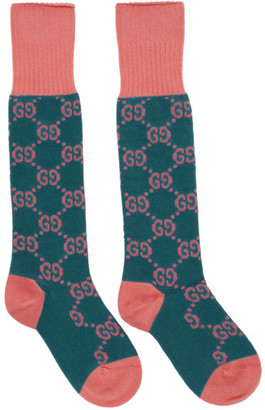 Gucci Pink and Blue GG Supreme Long Socks