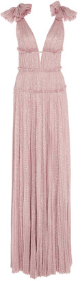 J. Mendel Hand-Pleated Silk Gown With Shoulder Detail