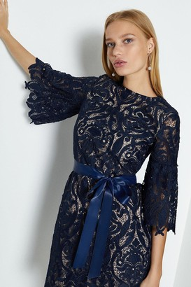 Coast Lace Puff Sleeve Knee Length Dress