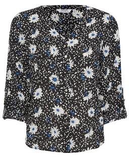 Dorothy Perkins Womens Dp Petite Cobalt Daisy And Dot Print Roll Sleeve Shirt, Cobalt