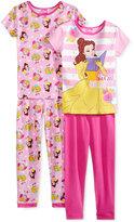 4-Pc. Princesses Cotton Pajama Set, Little Girls (2-6X) & Big Girls (7-16)