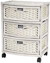 """Oriental Furniture 23"""" Natural Fiber Chest of Drawers - White"""