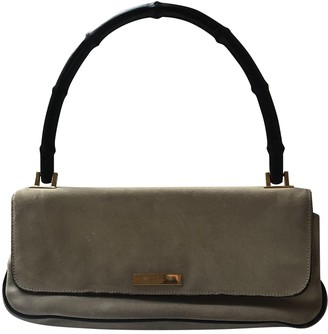 Gucci Bamboo Grey Suede Clutch bags