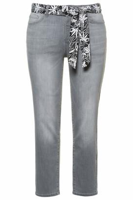 Ulla Popken Women's Damen Groe Groen Jeans knochellang mit Bindegurtel Sarah