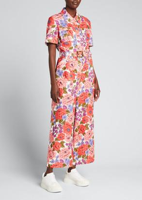 Zimmermann Poppy Belted Floral Utility Jumpsuit