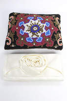 Asos J Crew Lot 2 Black Ivory Beaded Faux Leather Satin Clutch Handbags