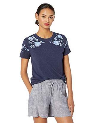 Lucky Brand Women's Embroidered Shoulder TEE