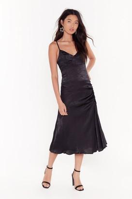 Nasty Gal Womens City Slicker Satin Midi Dress - Black