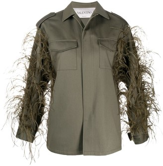 Valentino Feather-Embellished Military Jackets