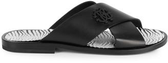 Roberto Cavalli Crisscross Leather Slides
