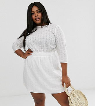 Asos DESIGN Curve casual elasticated mini dress in broderie-White