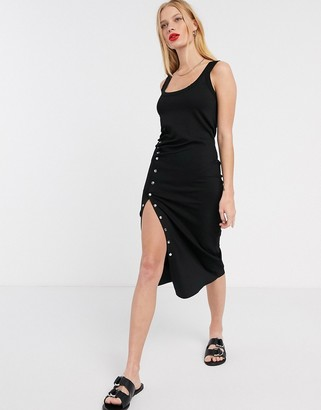 AllSaints hatti sleeveless jersey midi dress with ruched side