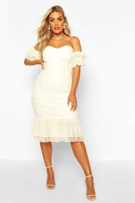 boohoo Plus Lace Bardot Frill Detail Midi Dress