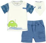 Kushies Blue & White Car Organic Cotton Tee Set - Infant