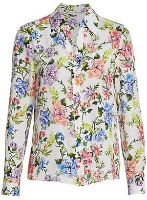 Alice + Olivia Eloise Floral Cotton Silk Shirt
