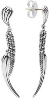 Lagos Sterling Silver Signature Caviar and Ribbed Double Drop Earrings