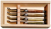 Jean Dubost Le Thiers 4 Mini Mineral-Colored Cheese Knives in Slide Top Box